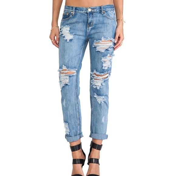 One Teaspoon Distressed Baggy Boyfriend Jeans
